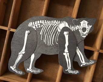 letterpress Polar Bear Skeleton paper toy