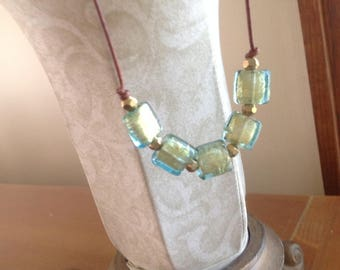 Leather Necklace with Green/Blue and  Gold Foil Lampwork Glass, Adjustable