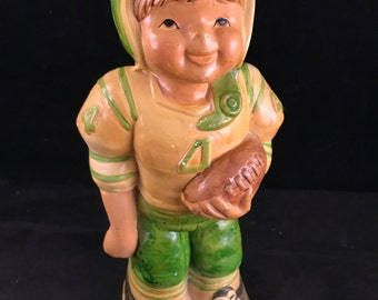 Vintage 1960's Era Green & Yellow Resin Football Player Bank
