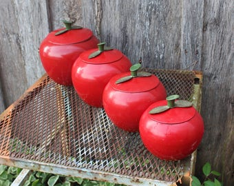 Set of 4 Vintage Red Apple Aluminum Canisters in Graduated Sizes