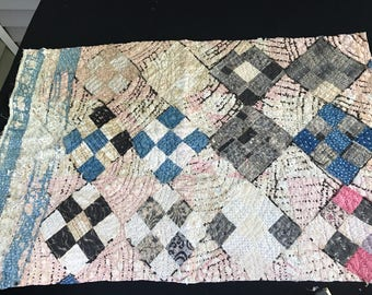Vintage Old Blue Calico Hand Quilted Well Loved Nine Patch Cutter Quilt Piece