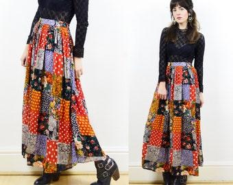 vintage gypsy skirt, patchwork skirt, boho skirt, maxi skirt, flowy skirt, hippie skirt, festival skirt, crinkled maxi skirt, summer skirt