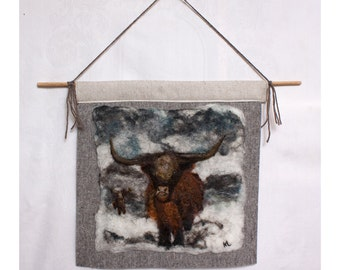 Felted Painting Of A Highland Cow in the Snow