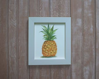 framed pineapple watercolor- kitchen art-  Pineapple watercolor painting- Archival  fruit print-  fruit artwork- yellow pineapple wall art