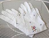 Freddy's Embroidered Kid Leather Gloves in Ivory (As-is) SZ 7