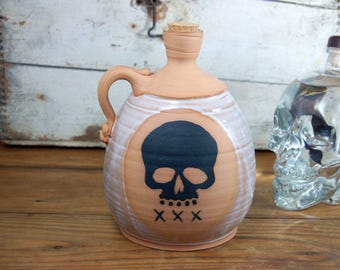Corked Whiskey Jug with Skull and XXX- Made to Order