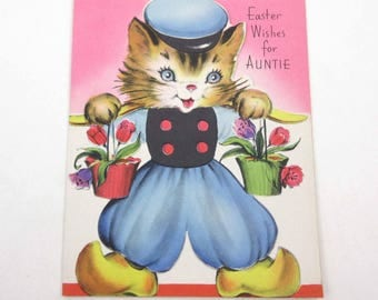 Vintage 1940s or 1950s Unused Easter Greeting Card with Cute Dutch Cat Kitten Tulips