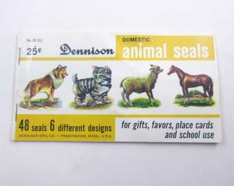Vintage Book of Dennison Gummed Seals Stickers or Labels with Cute Domestic Animals