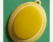 50% Off Sale Large Vintage Yellow Oval Pendant (1)