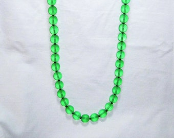 """Green Frosted Swarovski Crystal Beaded Necklace 33"""" - St Patrick's Day Jewelry - Free Shipping"""