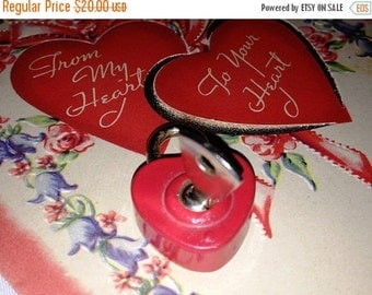 On Sale Heart Shaped Padlock, Red Valentine Padlock with Key, You have the Key to my Heart, Unlock my Heart, Valentine's Day Gift