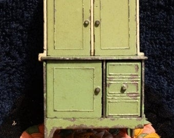 On Sale Vintage 1930's Die Cast Tootsie Toy  Lime Green Hutch Cabinet, Pie Case, Shabby Chic Green,  Antique Doll House Kitchen