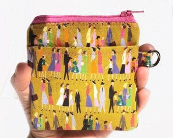 zipper pouch. mustard yellow card cash minimalist wallet. earbud case. teen tween. small cute pouch