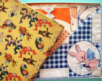 Vintage Unused Box of Children's Handkerchiefs Easter Themed Box Bunny Rabbit Elephant Owl and Mouse
