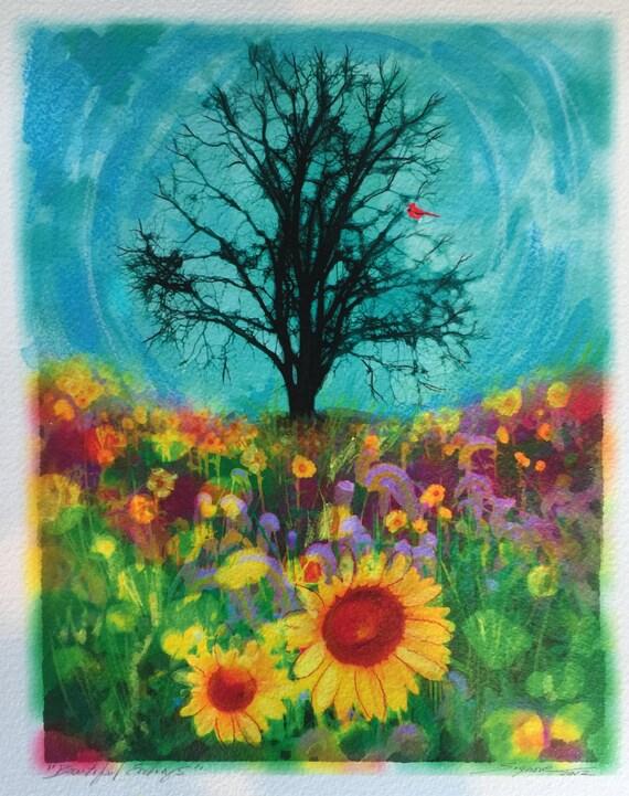 Beautiful endings,8x10 inches, wedding gift, nature, Sunflowers, unique wedding gift, Original, tree art, Sunflowers, Cardinal