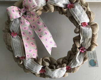 Spring Summer Burlap Wreath, Front Door Wreath, White Lace Burlap, Pink Peony