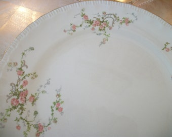 vintage pale pink roses pope gosser 'jean' floral pattern print dinner plate, replacement pieces, three available, cottage chic pink roses