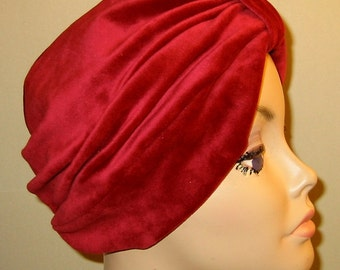 Brick Red  Velour Turban, Chemo Hat, Snood, Womens Hat, Cancer Hat Alopecia