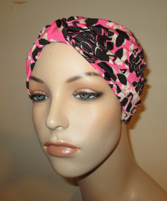 Lycra Turban in Pink Black White Stretch Knit Chemo Hat Womens Hat Fashion Turban, Yoga Hat Cancer Turban