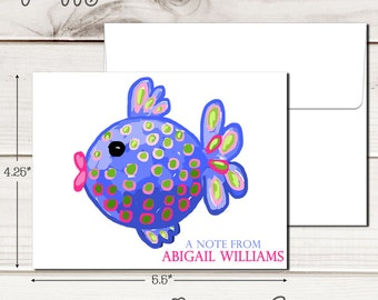 Personalized PREPPY FISH Note Cards - Set of 12 - Blank Inside with Envelopes
