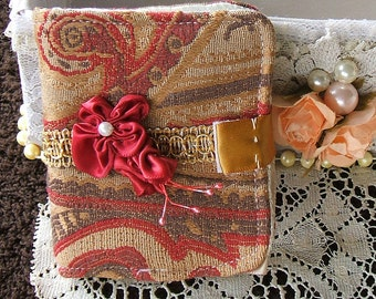 Needle Case,Victorian, Handmade, Ribbon Rose, has two Pockets inside, Felt Pages,Velcro closure