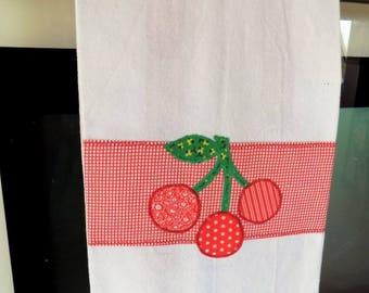 Cherry Cotton Kitchen Dish Towel, Applique Cherries Embellished Woven Cotton Towel, Red and White Hanging Tea Towel
