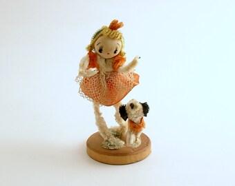 Vintage Chenille Doll Girl Dog