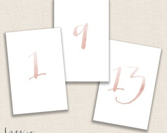 Blushing Bride Reverse Watercolor - DIY Printable Table Numbers  - 4x6 Digital Design - Numbers 1-20 - Painted - Instant Download