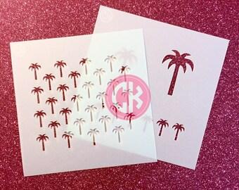 "Cookie Stencil Set- Tropical Palm Trees -2  6""x6"" Laser Cut Stencils"