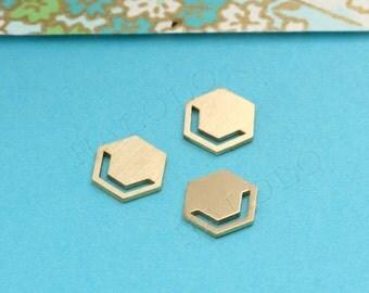 7 pcs Raw Brass  Laser Cut charm finding cabochon (MCS 002)