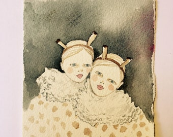 Original painting illustration Harlequin sisters