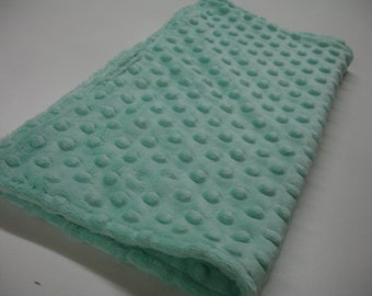 Mint Minky Burp Cloth Receiving Blanket Double Sided 14 x 15 READY TO SHIP