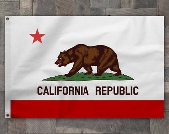 100% Cotton, Sewn Stripe, California Republic State Bear Flag, Made in USA