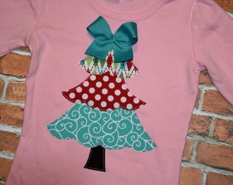 "Girls Christmas frilly tree ""WHImSICAL TREeS"" with aqua blue collection pink tee shirt available in size 6-12-18-24 mth. 2T, 3/4T, 5/6T, 7/8"