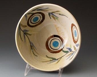 Handmade Ceramic Bowl, Serving Bowl with Circles and Sprigs, Handmade Clay Bowl, Serving Dish, Fruit Bowl, Pasta Bowl, Ceramic Mixing Bowl