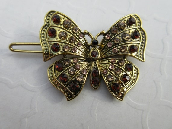 Brown rhinestone butterfly barrette small nature hair clip - Brown butterfly meaning money ...