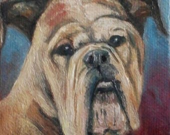 "SAMPLE Mini Oil Painting Puppy Dog Portrait 3""x 3"""