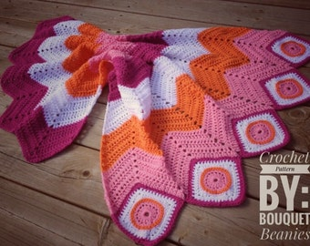 PDF Crochet Pattern- Circle in the Square meets Chevron Blanket