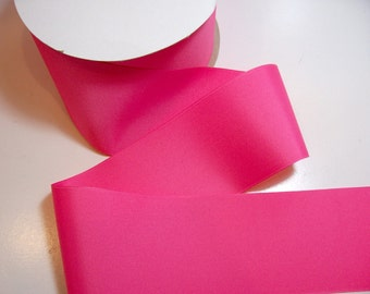 Wide Pink Ribbon, Offray Hot Pink Grosgrain Ribbon 3 inches wide x 3 yards