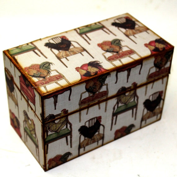 Wood Recipe Box Country Chickens on Chairs Fits 4x6 Recipe Cards