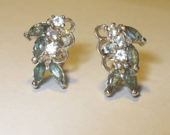 Genuine Alexandrite  Earrings with White Topaz Accents in Sterling Silver