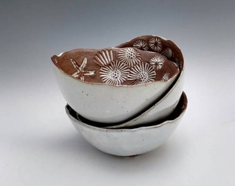 Organic shape pottery bowl, soup, ice cream bowl. Shells, Coral reef stamped bowl, ocean theme,  starfish. Natural white and tan