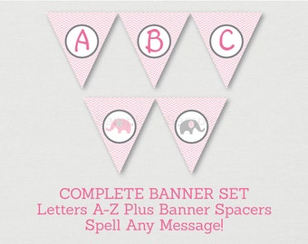 Cute Pink Elephant Baby Shower Banner / Elephant Baby Shower / Chevron Pattern / Letters A-Z / DIY Pennant Banner / INSTANT DOWNLOAD