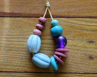 Mauve and Turquoise Bead Mix x 12