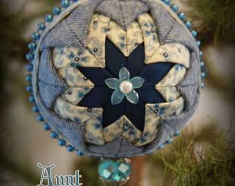 Handmade Quilted & Beaded Christmas Ball Ornament Blue White