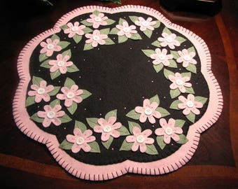 "Hand Stitched 17"" ""CHERRY BLOSSOMS"" - Wool Felt Penny rug - Candle Mat - Fiber Art - Wool Applique - Spring/Summer Decor - Home Decor"