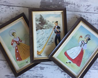 Vintage Postcards- Framed Embroidered European Costumes - Swiss Alpine Dress - Set of 3