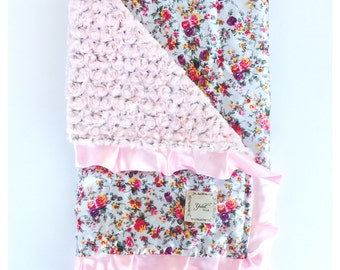 BABY BLANKET/ Pretty floral satin with two toned gray pink minky swirl and  pink  ruffled trim ....Gorgeous baby shower gift