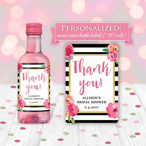 Custom Stripes & Flowers Bridal Shower Wedding Favor Mini Wine