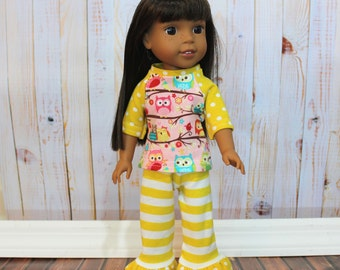 Doll Pjs Doll Pajamas Doll Ruffle Pants Doll Leggings 18 inch Doll 15 inch doll 14.5 inch doll Baby Doll Clothes Ruffle Doll Leggings